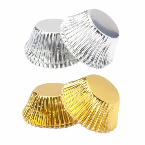Foil Mini Truffle Cups Silver & Gold 100Pk