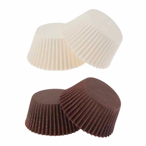 Mini Paper  Truffle Cups Brown & White Pkt 100