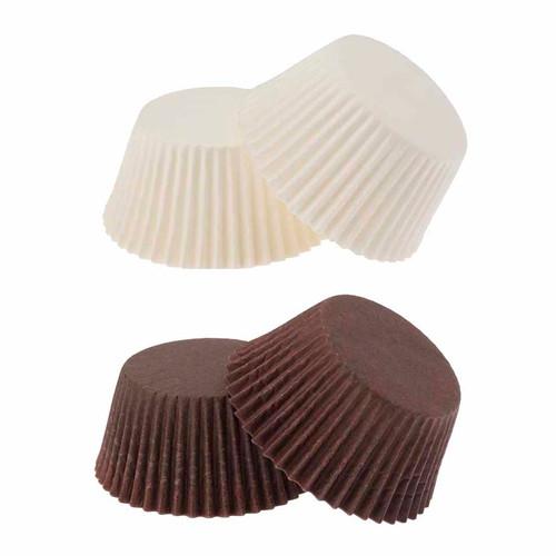 Mini Paper  Truffle Cups Brown & White Pkt 100