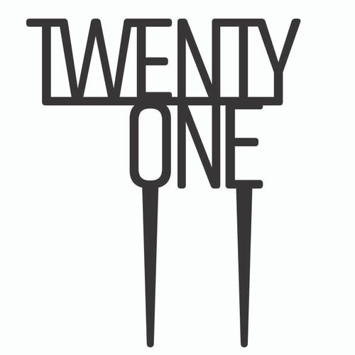 Twenty One Birthday Topper - Black