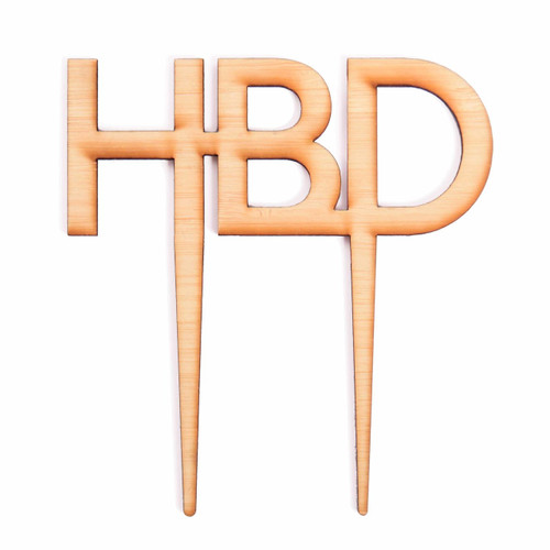 HBD (Happy Birthday) Topper - Natural Bamboo