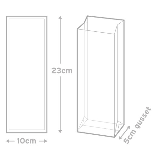 Block Bottom Bag  Pkt 12 -  10  x  23  cms (with 5cm gusset)