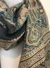 Hand Block Printed Natural Dyes Tasseled Silk Scarf 2 India (21 x 77)