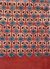 Handmade Block Printed Natural Dyed Brick Diamond Canvas Rug India 2 sizes