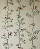 Handwoven Embroidered Cotton Off White Vining Bird Panels Guatemala