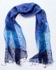 "Silk Sheer Floral Scarf Blue India (20"" x  70"")"