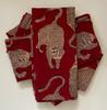 "Hand Block Printed Natural Dyed Tiger Napkins India Set of 4  (18""x 18"")"