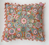 Woolen Hand Woven and Embroidered Pillow Q Peru Muted Colors Melon Rose Lime
