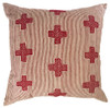 """Hand Embroidered With Stripes Red and White Pillow India (20"""" x 20"""")"""
