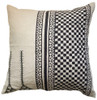 """Hand Embroidered Black and  White Pillow India (20"""" x 20"""")  natural linen colored linen groundcloth with block printing and embroidered embellishments in black."""