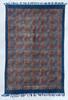 Handmade Block Printed Natural Dyed Puzzle Canvas Rug indigo red black cream