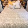 "Handmade Batik Indigo Dyed Quilt Queen India  (94"" x 104"") soft tan and white"