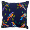 """Handwoven and Hand Embroidered Bird Pillow on Indigo Blue Guatemala (18"""" x 18"""") 18"""") greens, oranges, lavender, turquoise, blues, black, brown and more and more."""