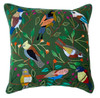 """Handwoven and Hand Embroidered Bird Pillow Forest Green Guatemala (18"""" x 18"""") greens, grey, pale yellow, pale peach, sky blue, red, Prussian blue, brown, black, white, orange, and more."""