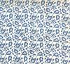 "Handmade Batik Natural  Dyed Cotton Fabric Indigo Leaves  India (45"" wide) medium sky blue indigo white"