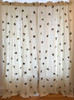 """Handwoven Embroidered Cotton Flying Bird 2 Curtains Guatemala (50"""" x 97"""") the birds are a medley of browns including red-brown, bear brown, fawn, soft charcoal and copper with accents in ochre, deep red, greys, navy, battleship blue, butter yellow, gold, saffron, mint green, peach"""