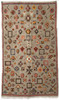 """Handwoven Ahknif  Tapestry Wool Rug 3 Morocco (60"""" x 100"""") Grey natural colored fleece with design elements in ochre, chalky pumpkins, olive, bear brown, natural white, medium indigo, chalky rose, washed tobacco."""