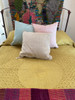 """Hand Stitched Cotton Quilt Queen light  gold  India  (92"""" x 92"""") Black hand stitching with accent threads in chalky pink and light gray."""