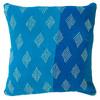 "Hand Stitched Kantha Cotton Pillow Blues India (20"" x 20"") sky blue, marine blue"