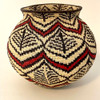 "Handmade Natural Fiber Wounaan Basket Black, White, Red Panama  (6.5"" tall x  7""wide)"