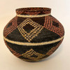 "Handmade Natural Fiber Wounaan Basket 3 Panama  (6.25"" tall x  7""wide) light tan, wheat, red brown and black"