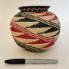 "Handmade Natural Fiber Wounaan Basket Black and Red  White Panama  (6"" tall x  6.5""wide)"