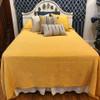 "Handmade Bandhani  Cotton Yellow Quilt Bedspread Queen (94"" x 107"")"