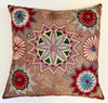 """Hand Embroidered Silk Pillow 17 Uzbekistan (18"""" x 19"""") taupe fabric embroidery colors:  dusty rose, creamy wheat, deep red, forest green, blue grey, pale peach, muted peach, black and pale sky blue"""