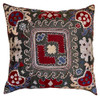 """Hand Embroidered Silk Pillow 18 Uzbekistan (17"""" x 17"""") graphite grey colored  fabric embroidery colors:  pale blue grey, cream., burgundy, Prussian blue, olive green and black."""