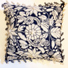 """Woolen Hand Woven and Embroidered Pillow Navy Peru  (18"""" x 18"""") creamy white and grey Crewel work"""