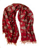 """Handwoven Block Printed Organic Cotton Brick Red Tiger Throw  India (52"""" x 66"""") brick red, off white, and charcoal"""