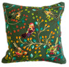 """Handwoven and Hand Embroidered Bird Pillow Green Guatemala (15"""" x 16"""") forest green, rose, red, pink, greens, gold, orange, brick, violet, brown, black, and more"""