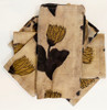 """Block Printed Natural Dyed Napkins Sepia Flower India Set of 4 (18""""x 18"""") Khaki, brown and charcoal large single flowers on a mottled taupe tan background"""