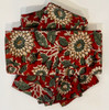 """Block Printed Natural Dyed Napkins Brick red floral India Set of 4 (18""""x 18"""") floral designs in off- white, camel, light evergreen and black"""