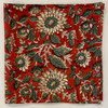 "Block Printed Natural Dyed Napkins Brick Red Floral India Set of 4 (18""x 18"")"