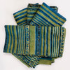 """Hand Block Printed Natural Dyed Napkins Stripe Green India Set of 4 (18""""x 18"""") shades of lime green, olive, teal and charcoal."""