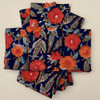 """Block Printed Natural Dyed Napkins Brick loral India Set of 4 (18""""x 18"""") loral designs in indigo background with sage and turquoise foliage and orange blossoms."""