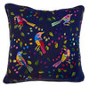 """Handwoven and Hand Embroidered Bird Pillow Indigo  c Guatemala (16"""" x 16"""")greens, rose, blues, yellows, red brown, purple, black, brown and more."""