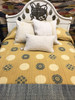 """Handmade Natural Dyed Block Print Quilt Bedspread India (102"""" x 103"""") golden wheat, cream, rich indigo, outlines in black"""