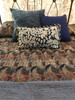 """Handmade Natural Dyed Block Print Quilt King 2 Bedspread (99"""" x 108"""") Japanese influence india.  Variations of indigo blue; deep maroon; brown-black, cream. Reverse side in rich indigo. cotton"""