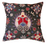 """Hand Embroidered Silk Pillow 18 Uzbekistan (17"""" x 17"""") graphite grey colored  fabric embroidery colors:  deep red, blue, light blue, silver, warm beige and blue grey"""