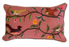 """Handwoven Embroidered Dusty Rose Bird Pillow Guatemala  (12"""" x 20"""") greens, yellow, rust, grey, violet, red, peach, brown, blue grey, black, beige, and more."""