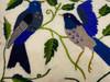 "Handwoven and Hand Embroidered Blue Birds Lumbar Pillow Guatemala (10"" x 15"")"