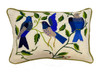 """Handwoven and Hand Embroidered White Bird Lumbar Pillow Guatemala (10"""" x 15"""") detailed embroidery is a variety of blues, greens, creamy tan , a bit of red and ochre on a handwoven natural white cotton ground cloth."""