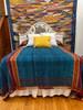 "Handwoven Handspun Woolen Coverlet Bed Spread India (96"" x 98"") indigo blue,  burnt orange, deep red and creamy wheat"
