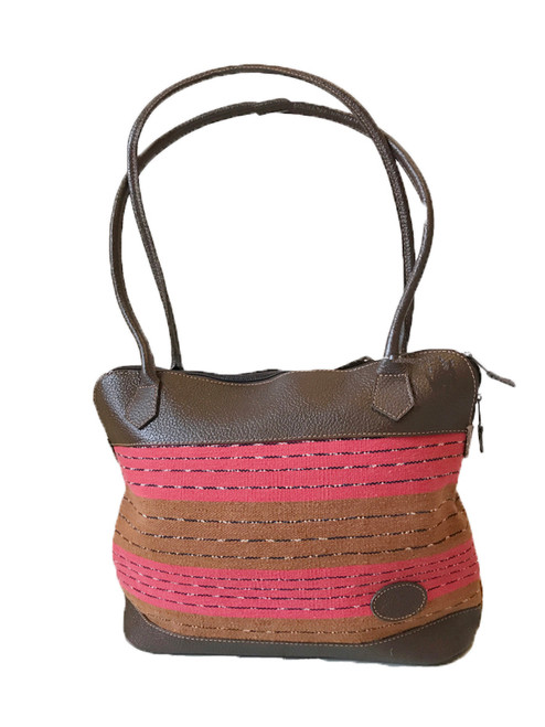"""Handmade Leather and Handwoven Natural Cotton Shoulder Bag Purse (13"""" x 11"""")"""