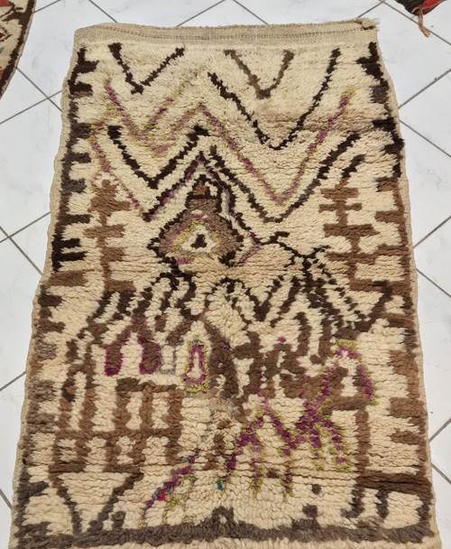 """Handwoven and Hand Knotted Azilal Vintage Tribal Berber Wool Rug Morocco (32"""" x 62"""")"""