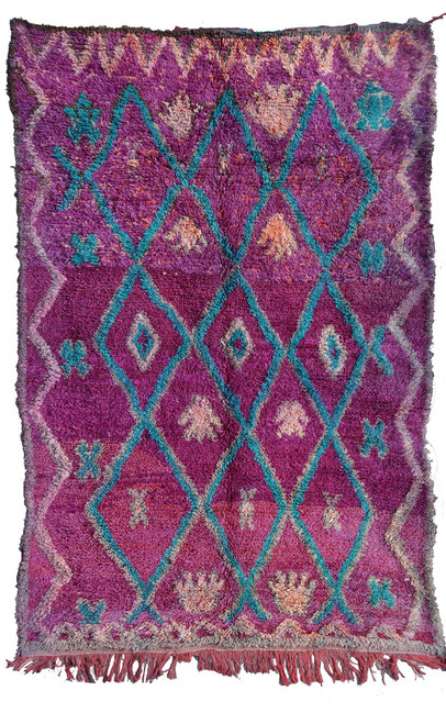 """Handwoven and Hand Knotted Talsint Vintage Berber Tribal Wool Rug Morocco (60"""" x 103"""")"""