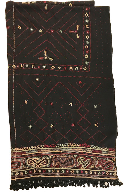 "Handmade Wool Bandhani Mirror Work Applique Wool Throw India (48"" x 80"")"