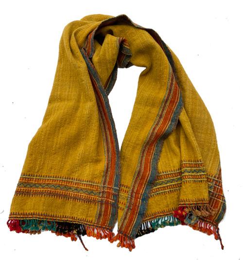 "Handwoven Handspun Woolen Ochre Throw India (38"" x 76"") , burnt orange, greenish indigo"